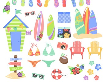 Beach Clipart, Tropical Clipart, Surf Clipart, Summer Clipart, Beach Graphics, Printable, Commercial Use