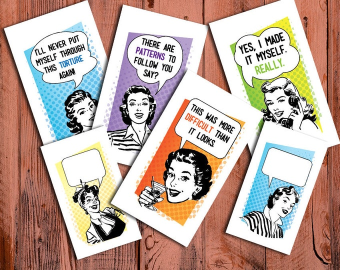 """Retro Ladies Laundry Care Tags - 300 DPI – 2 x 3-1/2"""" – Vector PDF and PNGs - Printables - Business Card Size"""