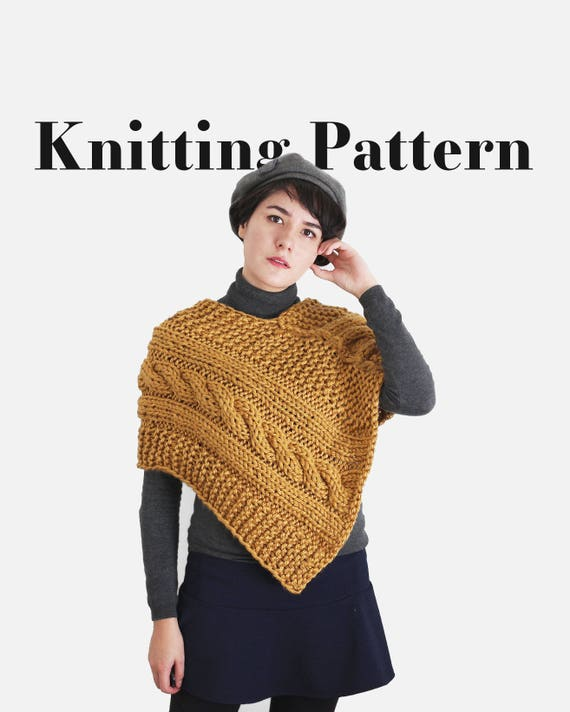 Knit Poncho Pattern Chunky Cable Pattern Womans Knit