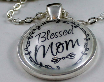 Pendant necklace Blessed Mom Vintage style Christian Pendant & Chain