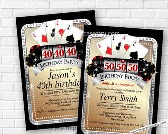 Casino party, birthday invitation, gambling, adult game, casino night, poker birthday, casino, Slot machine, jackpot, casino, card 521