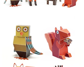 Forest Animals Paper Toys - DIY Paper Craft Kit - 3D Paper Animals - 4 Forest Animals - Papercraft Kids