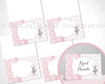 Ballerina Tent Cards - Pink - DIY Printable - INSTANT DOWNLOAD