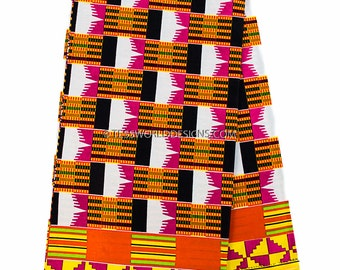 Kente cloth/ Kente print fabric, sold per yard/ Kente cloth / Kente print /Kente Cloth Stole / Kente Sash /African fabric/ May KF258B