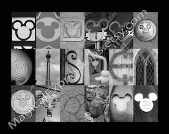Disney With Hidden Mickey's  (Walt Disney World) Alphabet Photography Letter Art Print -multiple sizes-