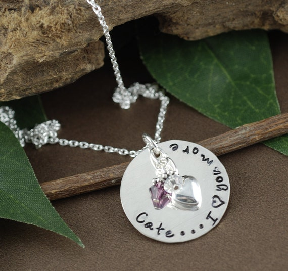 I love you More Necklace | Hand Stamped Jewelry | Personalized Necklace | Love you More | Birthstone Jewelry | Gift for Her