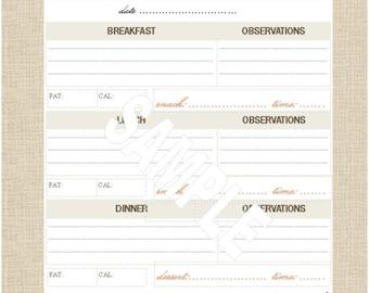 Life's Lists Printable A5 Food Tracking List