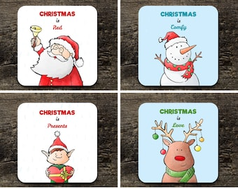 Personalised Christmas coasters set 4 - Gift/Present/Family Stocking filler