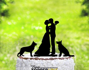 Wedding cake toppers with dogs,Wedding cake topper,Mr and Mrs cake topper + dogs,Silhouette cake topper with two dogs,dogs Silhouette (2016)