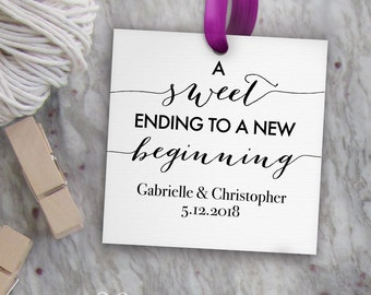 Sweet Wedding Tags Printable, Editable Favor Tag Template // A Sweet Ending to a New Beginning Tags // DIY Digital PDF // 2 inch Square 2x2