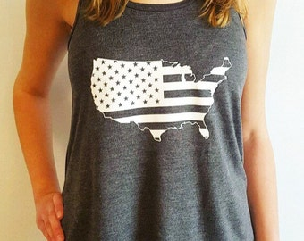 America Front and Back Tank - 'Merica Tank - Patriotic Shirt - Fourth of July Shirt