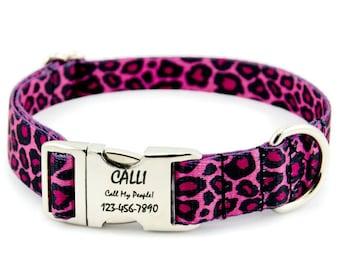 Custom Pink Cheetah Print Dog Collar -- Personalized Engraved Nameplate Pet ID Tag -- Tough Polyester Webbing -- Adjustable