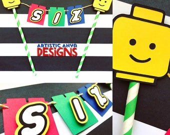 Lego Theme Cake Bunting Topper Personalized -Lego Birthday Party - Lego Blocks Decorations