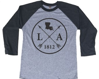 Homeland Tees Louisiana Arrow Tri-Blend Raglan Baseball Shirt