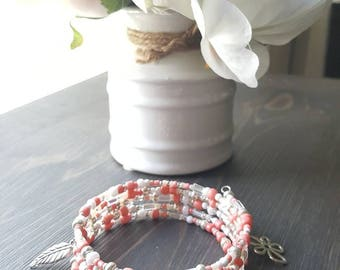 Bracelet in summer colors silver, white, coral, memory wire, seed beads, 5 rows, flower, leaf