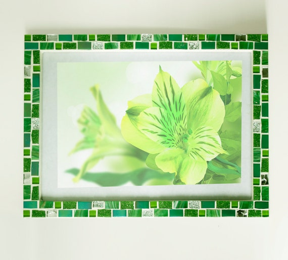 8x12 frame - Mosaic wall photo frame - Green frame - Photo frame ...