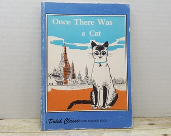 Once There Was a Cat, 1961, Dolch Classic first reading book, vintage kids book
