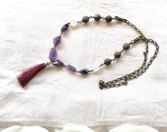 Amethyst faceted moonstone druzy beads boho maroon purple tassel necklace