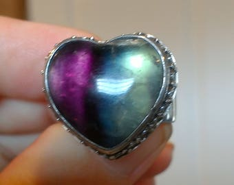 heart ring fluorite sterling silver  adjustable valentines day gift