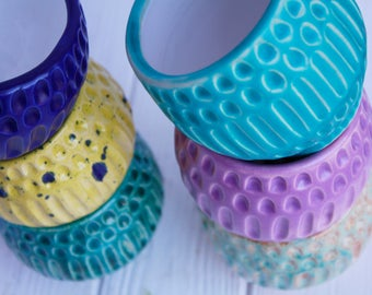 Modern Small Planter - Ceramic Planter - Handmade Blue Planter - Succulent Planter - Cactus Pot - Modern Mini Pot