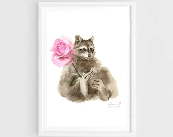 "Original watercolor,watercolor raccoon,love,pet painting,7""x9""4,home decor"
