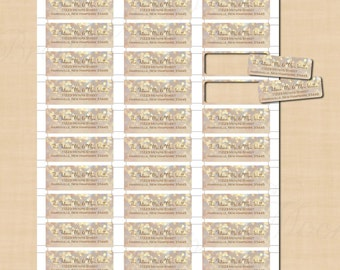 French Champagne Sparkles Return Address Labels (2.25x0.75): Text-Editable, Printable on Avery® Products 8257 or 6870, Instant Download