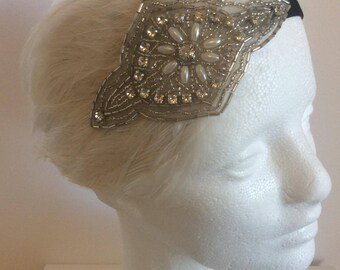 1920s Gatsby headband, Halloween costume, Daisy Buchanan flapper headpiece, fascinator, 1930s silver headband, great gatsby ostrich