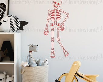 Skeleton Halloween Wall Decor | Wall Decals for Halloween Decor or Fall Decorating Ideas | Peel and Stick Reusable and Removable | P1028