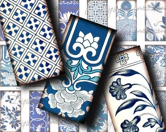 Asian Blue Porcelain (3) Digital Collage sheet - Dominos 1x2 inch or Bamboo size - Buy 3 Get 1 Extra Free