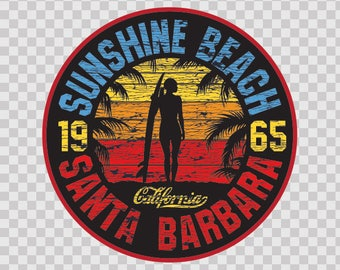 Stickers Decal Sunshine Beach Santa Barbara surfer surf 06396