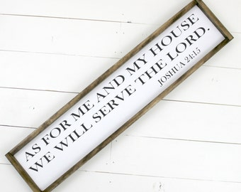 As for me and my house we will serve the LORD  Sign - Framed Wooden Sign Wood Sign