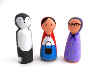 Red riding hood peg dolls - story telling - fairy tales