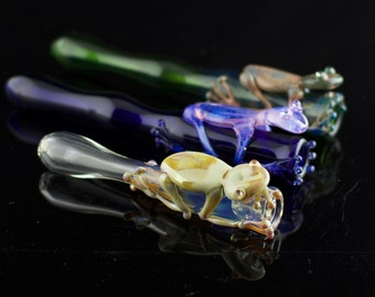 Frog Glass Chillum Pipe in Your Choice of Color