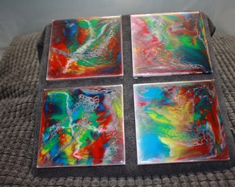 Hand Painted Abstract Ceramic Tiles- set of 4