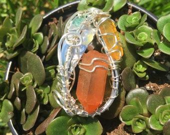Lemurian Quartz Pendant featuring Aquamarine & Amber