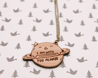 I Am With You Always Laser-cut Bamboo Wood Typography Necklace