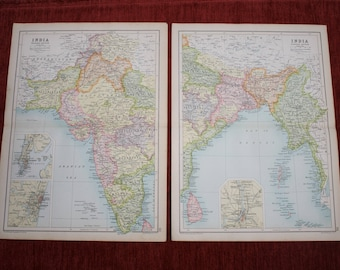 Two Maps of India - Eastern & Western India from Cassell's Atlas 1910 Vintage J.G Bartholomew Edinburgh Geographical Institute original map