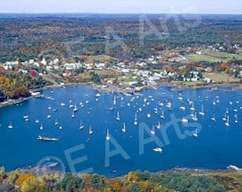 Round Pond Maine Aerial View Maine Panoramic Photography Maine Color Art Print Maine Photographer Paul Vose MADE IN US