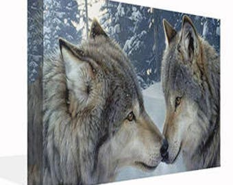 Kissing Nuzzle Wolves Canvas Print Wall Art Ready To Hang Or Poster Print