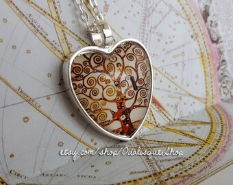Tree of Life Heart Necklace Gustav Klimt Pendant Art Painting Jewelry Birthday Gift 1 inch Keychain Symbolist Movement hs05