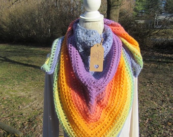 Hand Crocheted Front Shoulder Back Shawl/ Scarf-- FREE SHIPPING