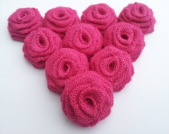 Pink Burlap Flowers, Pink Burlap Roses,Pink Burlap, Hot Pink Burlap Roses Fuschia Pink Burlap Roses - Rustic Outdoor Vintage wedding decor