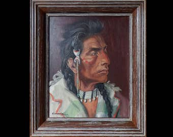 Curly Native American - by Elizabeth Lochrie, oil painting