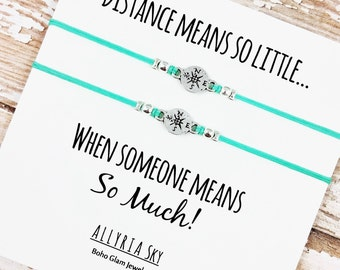 """Set of Two Charm Friendship Bracelets with """"Distance Means So Little"""" Card 