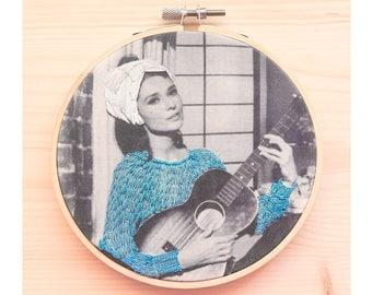 Hand embroidered Breakfast at Tiffany's hoop. Audrey Hepburn