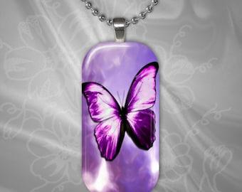 Purple Butterfly Glass tile Pendant with chain(CuBuR4.1)