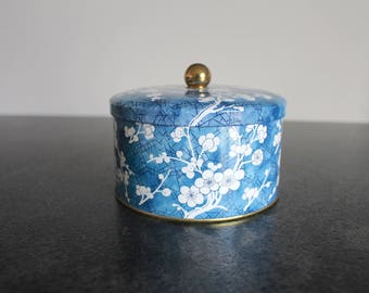 Blue Daher Tin Canister with Prunus Blossoms