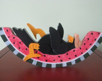 Crow on Watermelon, Summer tole painting, decoration, handpainted, shelf sitter, summer decor, gift for her, hostess gift