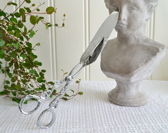Large sandwich and pastry tongs, vintage Swedish chrome plate