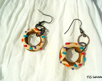 Earrings Gourmet Bakery donuts in polymer clay Fimo
